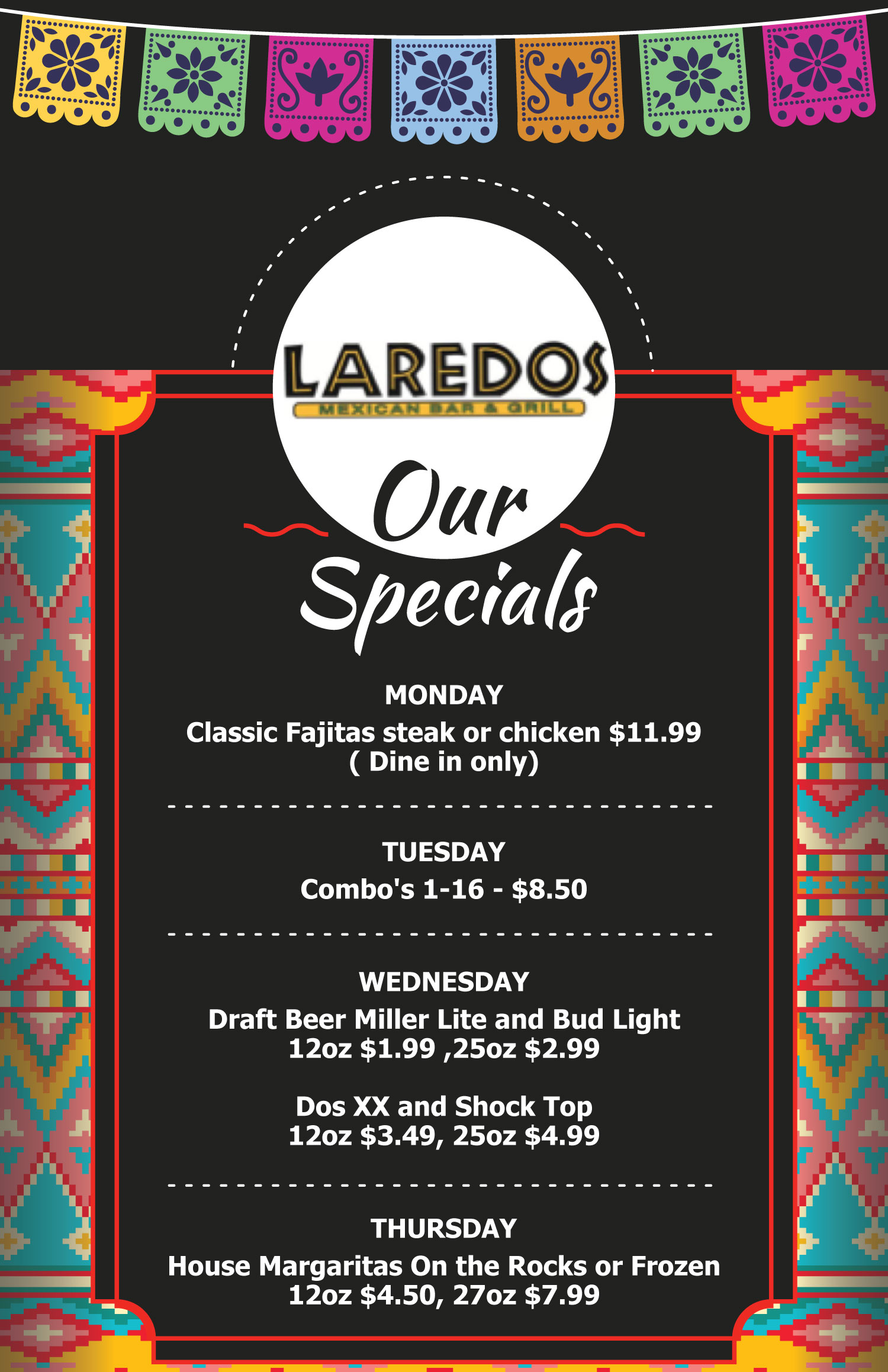 Specials apply at Laredos Kennesaw South